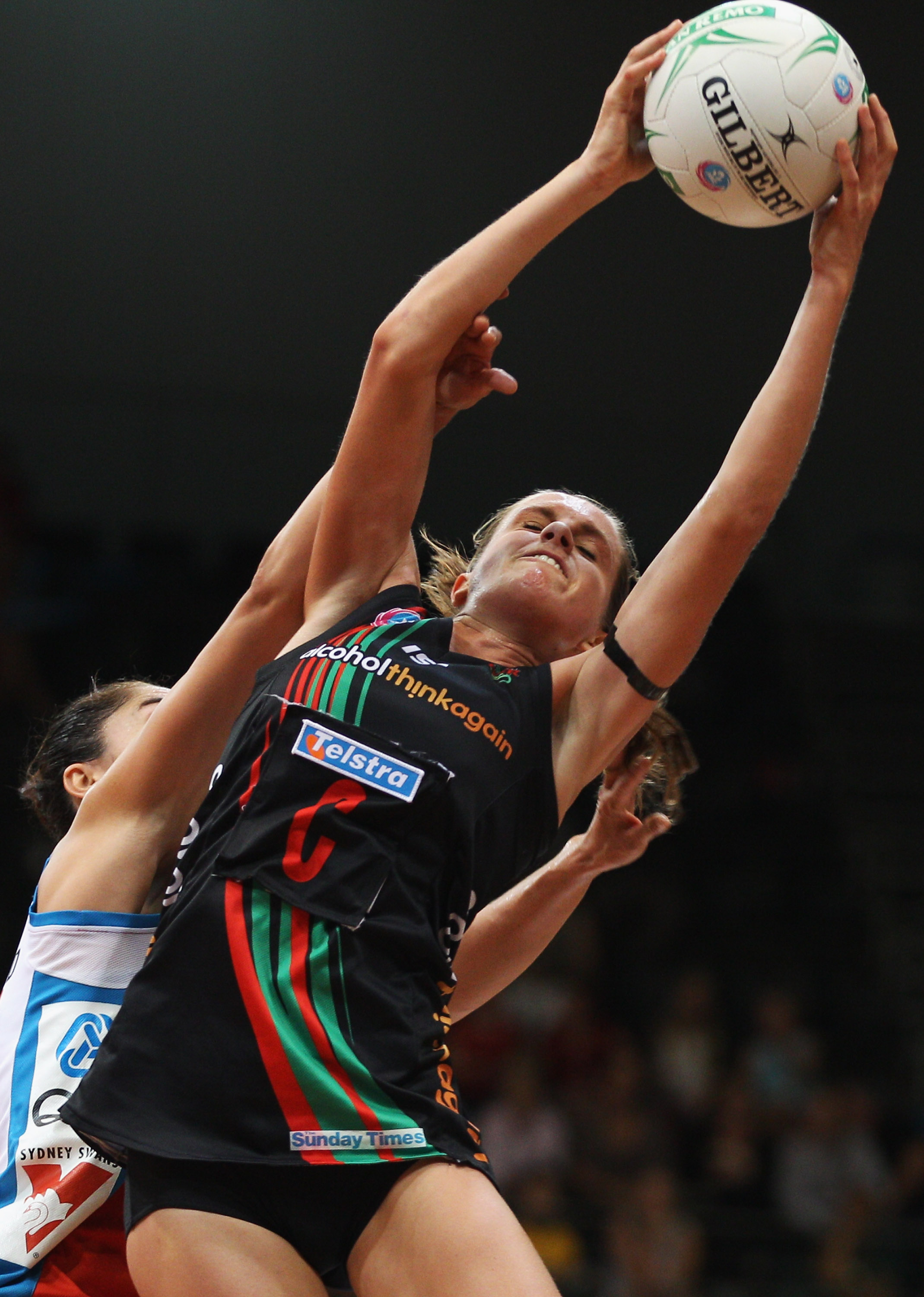 Sarah Ebbott of West Coast Fever catches the ball